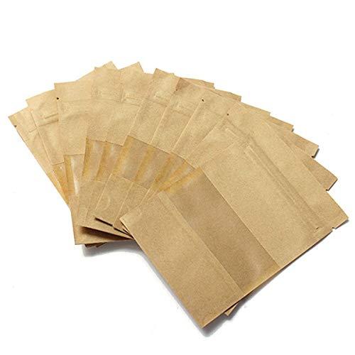 BIGBOBA 100PCS Wiederverwendbar Papier Druckverschlussbeutel Food Storage Stand Up Pouch für Getrocknete Früchte Kaffee Samen Bean Tee Leaf, Braun, 10 * 15CM