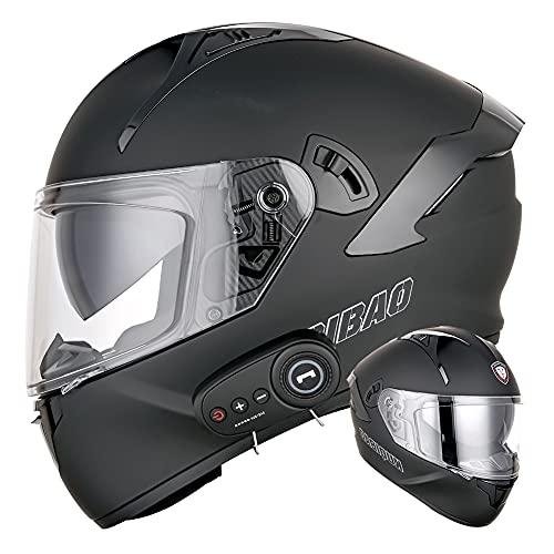 Casco de motocicleta de cara completa con Bluetooth Cascos de moto abatibles Lente antivaho doble Altavoz doble Casco de protección modular para adultos negro mate Certificado por DOT,XXL(63~64)