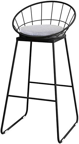 WONKIIN Modern Iron Bar Stools, Nordic Industrial Style Black Iron Backrest Bar Chair Barstool Dining Chairs with Fabric Cushion for Kitchen Bar Cafe Pub,Grey Seat (45cm)