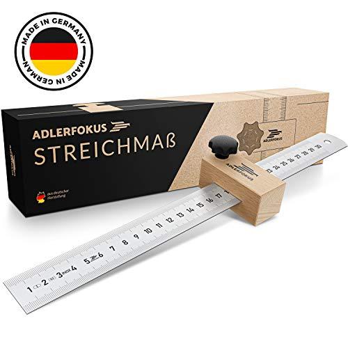 Adlerfokus Streichmaß [EG-1] Made in Germany Anschlaglineal – Anreisswerkzeug mit extra stabilem INOX Lineal – Streichmaß Metall mit Anschlag aus Buchenholz