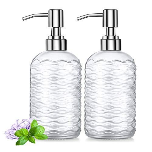 2 Pack Soap Dispenser 18 Ounce Tempered Glass Clear Hand Liquid Soap Bottle Refillable Lotion Dispensers with Rust Proof Pump for Bathroom Countertop Kitchen Sink (Horizontal Stripes)