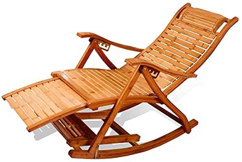 Gartenstuhl, Liegestühle Campingstühle Gartenliegen Klappstuhl Bambus Klapp Schaukelstuhl Loungesessel , 5 Dateien Verstellbarer Gartenliege abnehmbar