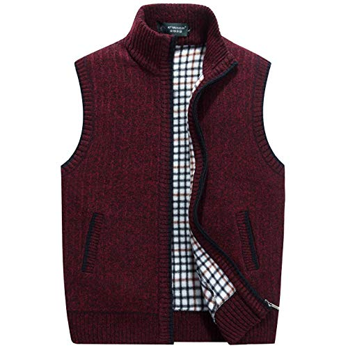 Flygo Men's Stand Collar Zipper Sweater Vest Knitted Sleeveless Jacket Cardigan (Large, Wine Red)