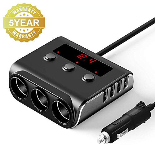 Car Cigarette Lighter Adapter, SONRU 100W 12V/24V Car Charger with 4 USB Ports and 3 Sockets Cigarette Lighter Power Splitter, On/Off Switch and Voltage Display