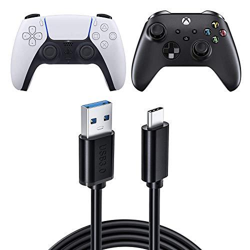 USB-Ladekabel für Nintendo Switch mit PS5-Controller, USB 3.0-Schnellladekabel Typ C Kompatibel mit Sony PS5 Dual Sense-Controllern der Xbox-Serie X / Serie S, Nintendo Swith und Switch Lite