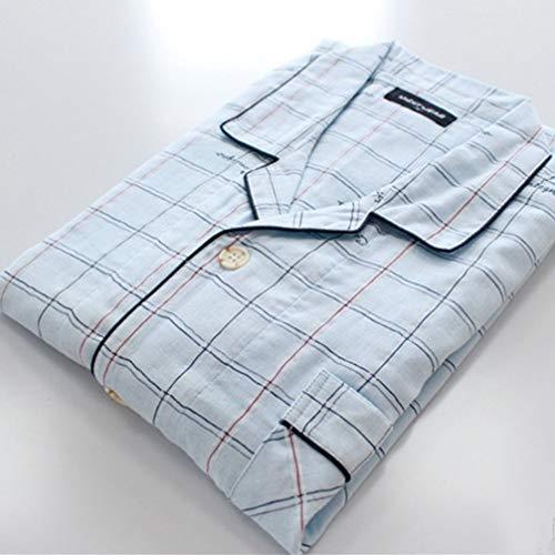 Conjunto de Pijamas Primavera Verano Absorbe el Sudor Algodón Transpirable Patrón de Cuadros Hombres Half Pants Manga Corta Inicio