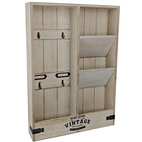 dszapaci Wandorganizer Schlüsselbrett Holz mit Ablage Briefablage Wand Schlüsselboard Vintage Wandboard (Holz)