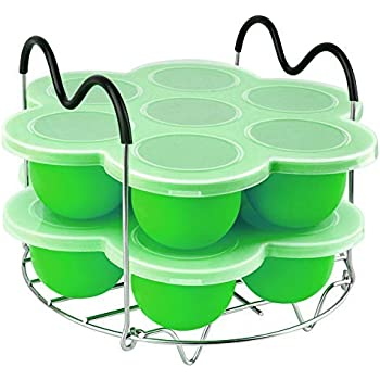 PRAMOO Silicone Egg Bites Molds and Steamer Rack Trivet with Handles for Pressure Cooker Accessories, 3pcs/set for 6qt & 8qt Electric Pressure Cooker