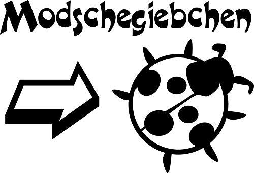 Wandtattoo: Modschegiebchen (Marienkäfer) – Sächsisch, Sachsen, Dialekt, Mundart, Spruch, Schriftzug, Tiermotiv //Farb- und Größenwahl, Wandaufkleber (Dunkelrot - 300 mm x 200 mm)