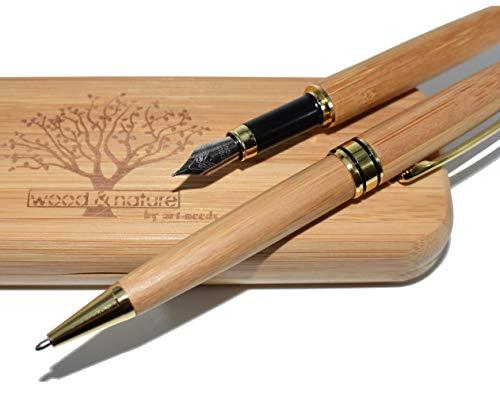 by art-needs - hochwertiges Holz-Kugelschreiber Set - Kugelschreiber mit Füller für Erwachsene im edlen Bambus-Stifte-Etui-nachhaltiges Geschenk aus Bambus