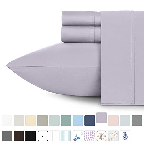 Premium 400-Thread-Count 100% Natural Cotton Sheets - 3-Piece Lavender Extra Long Twin Size Sheet Set Long-Staple Combed Cotton Bed Sheets for Bed, Sateen Weave, Fits Mattress 15'' Deep Pocket