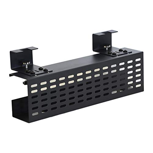AEONS Under Desk Cable Management Tray Black Horizontal 16-inch Under Desk Removable C Clamp Mount Computer Cord Raceway and Modesty Panel
