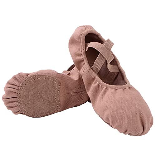 Bothevin Zapatillas de ballet con suela de piel dividida y licra, para niños y adultos, tallas 23-44, color Marrón, talla 25 EU