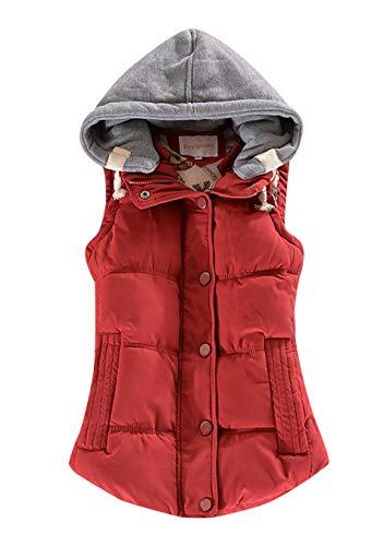 EFOFEI Damen Coat Winterweste Thicken Sleeveless Jacket Burgund M