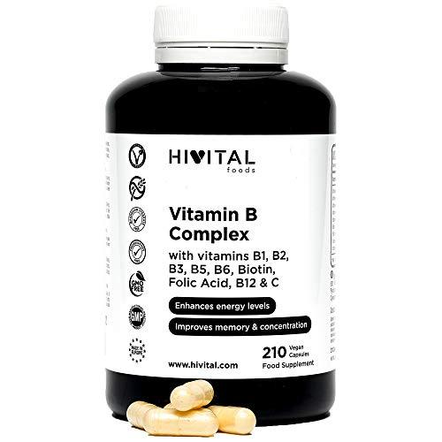 Vitamina B Complex | 210 cápsulas veganas para 7 meses | Complejo Vitaminas B con B1, B2, B3, B5, B6, B12, Biotina y Ácido Fólico | Aumenta el nivel de energía y mejora la concentración y la memoria