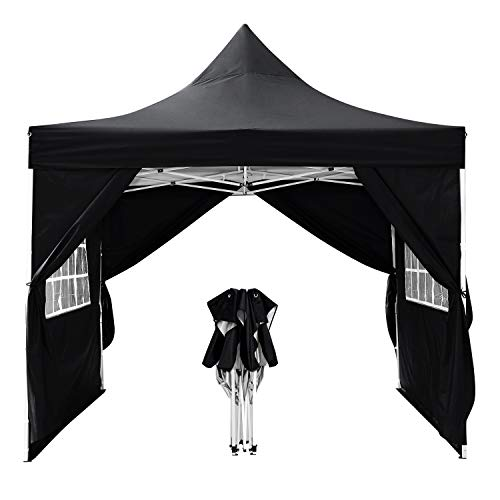 WOOKRAYS Gazebo 3x3m Patio Waterproof Garden Gazebo with 4 side parts for marquee party tent/garden/wedding/picnic sun protection+ HandBag (Black)