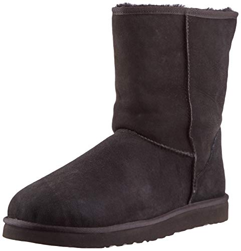 UGG Men's Classic Short Sheepskin Boots, Black, 10 D(M) US