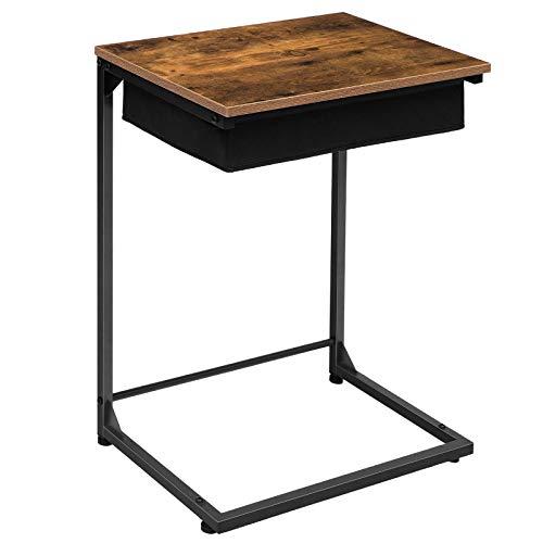 HOOBRO Beistelltisch, Schreibtisch, Kleiner Laptoptisch, Sofatisch C-Form, Flip-Top-Snack-Tisch mit Aufbewahrungskorb aus Vliesstoff, Schlafzimmer, Wohnzimmer, Einfacher Aufbau, Stabil, EBF55SF01
