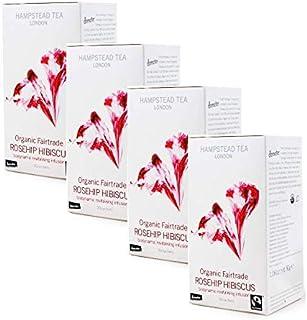 Hampstead Tea London Bio-Revitalisierender und biologisch-dynamischer Kräutertee mit Hagebutten und Hibiskus - 4 x 20 Beutel 120 Gramm