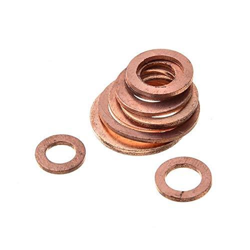ETXP Juego de 200 anillos de sellado plano de cobre para juntas sólidas, para embarcaciones, juntas de sellado plano, accesorios de hardware para hogar y negocios (número de piezas: 200 unidades)