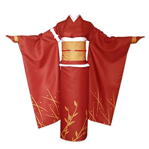 ULLAA 6PCS Anime Bungo Stray Dogs Izumi Kyouka Traje de Disfraz de Cosplay Vestido de Kimono japonés Rojo Yukata Ropa de Carnaval de Halloween