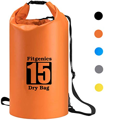 Fitgenics Dry Bag Trockensack wasserdichte Trockentasche wasserfest strandsafe Beutel für Kajak Boot Angeln Rafting Wassersport Camping Snowboarden Wandern Kanu Tauchen Segeln Surfen (Orange, 10L)