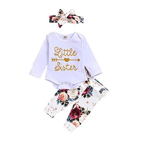 Fenverk Babykleidung Strampler Neugeboren Säugling Baby Junge Mädchen Lange Hülse Spielanzug Tops Rot Hirsch Drucken Hose Weihnachten Haarband Outfits Baumwolle Kleider Set(D Weiß,70)