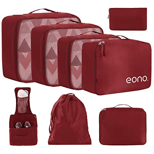 Eono by Amazon - 8 Teilige Kleidertaschen, Packing Cubes, Verpackungswürfel, Packtaschen Set für Urlaub und Reisen, Kofferorganizer Reise Würfel, Ordnungssystem für Koffer, Packwürfel, Weinrot