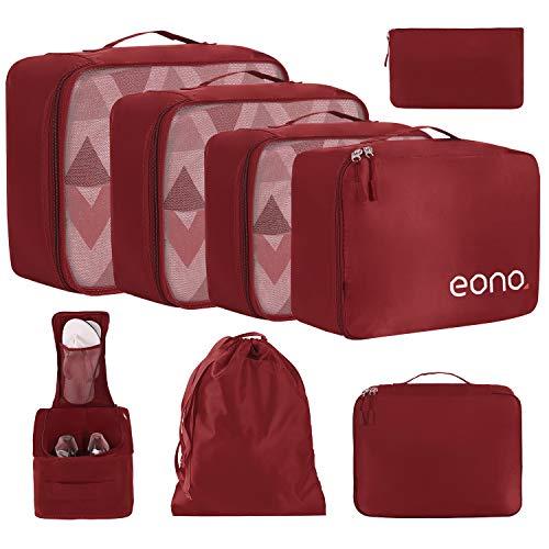Eono by Amazon - 8 Set Cubos de Embalaje, Organizadores para Maletas, Travel Packing Cubes, Equipaje de Viaje Organizadores, con Bolsa de Zapatos, Bolsa de Cosméticos y Bolsa de Lavandería, Borgoña