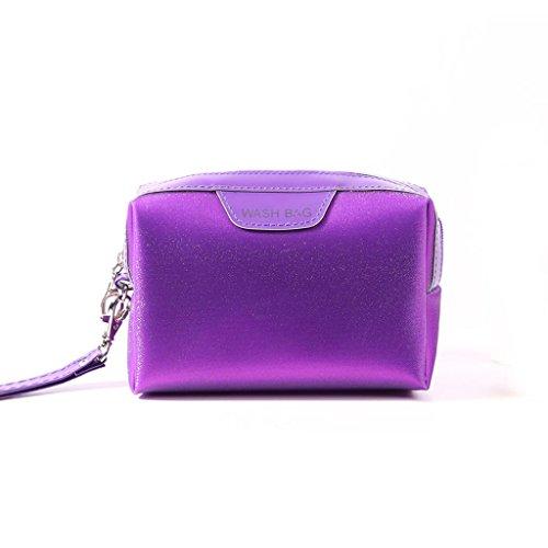 Benfa Korea Kosmetiktasche Aufbewahrungstasche Weibliche Make-up Tasche Kleine Kupplung Reisetasche waschbeutel Tragbare Mini Kosmetiktasche, Square Purple