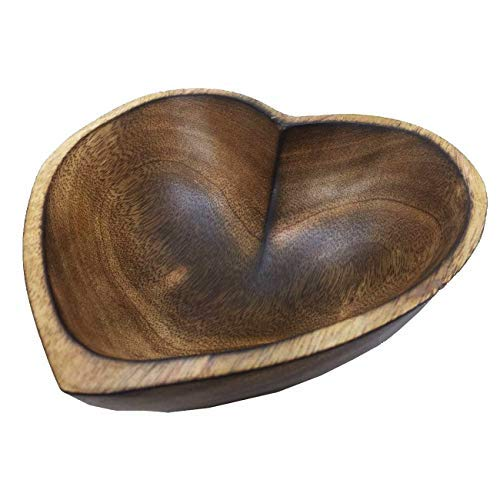 6' Heart Shaped Bowl - Small Functional and Collectible Bowl - Handcrafted Wooden Bowl for Serving Nuts Desserts Fruits or Accent Decor Perfect Gift for Any Occasion - 6' Brown