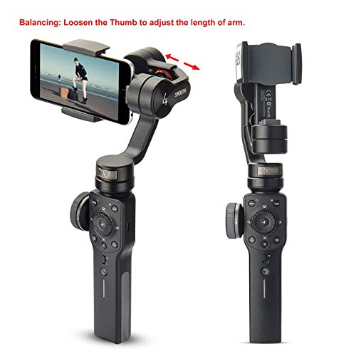 Zhiyun Smooth 4 Professional Gimbal Stabilizer for iPhone Smartphone Android Cell Phone 3-Axis Handheld Gimble Stick w/Grip Tripod Ideal for Vlogging YouTube Vlog TikTok Instagram Live Video Kit
