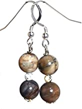 Petrified wood earrings, opal earrings, all sterling silver earrings, gift from Seattle, gift from Washington, official state gemstone
