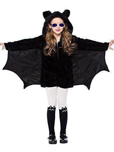 FStory&Winyee Kinder Kostüm für Karneval Halloween Fledermaus Kostüm Jumpsuit Vampire Mädchen Cosplay Overall Schwarz Fasching Verkleidung Party Eltern-Kind Outfit Kindergeburtstag Mädchen Geschenk
