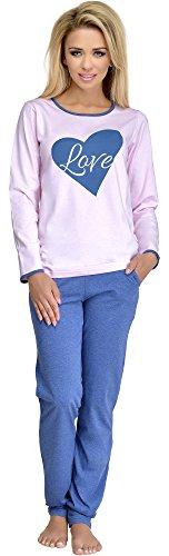 Merry Style Pijamas Conjunto Camisetas Mangas Largas y Pantalones Largos Ropa de Dormir de Cama Lencería Mujer 1024