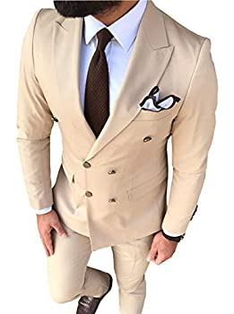 Men s Suit 2-Piece Double Breasted Groom Tuxedos Slim Fit Notch Lapel Tailcoat for Wedding Blazer+Pants  42,Champagne
