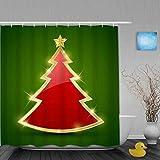 ShopHM Cortina de Baño,Diciembre Simple Brillo Brillante Rojo Navidad Invierno Cristal Árbol Resumen Diseño Estrella,Cortinas de Ducha con 12 Ganchos de plástico 180 * 180cm