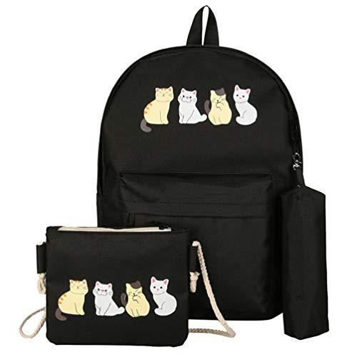 Trada_Casual Classic Daypack/Eleganti Zainetti Borsa /3Pcs Zaini Scuola Tela Studente Modello Femminile + Borsa a Tracolla + Sacchetto della Penna/Doppia Spalla Borsa (One Size, Nero)