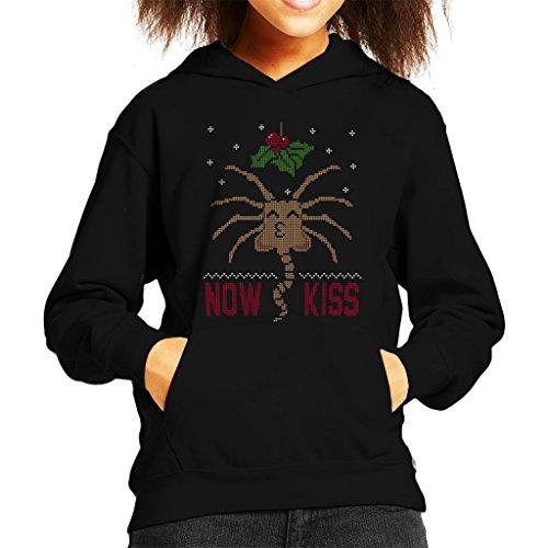 Alien Facehugger Mistletoe Now Kiss Christmas Knit Patroon Kid's Hooded Sweatshirt
