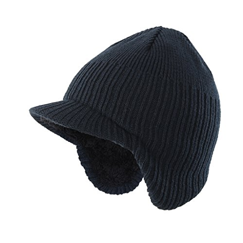 Home Prefer Toddler Boys Winter Hat Warm Kids Knitted Hat with Visor Earflaps Hat Navy Blue Medium