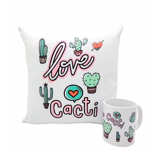 COJÍN Cactus Decoracion Regalos Originales CUMPLEAÑOS 35X35 CM Cojines Decorativos Ideal Regalar Taza Desayuno Original Idea Regalo Cumpleaños. Cerámica 350 mL
