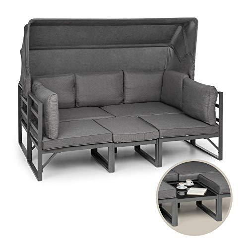 blumfeldt Ravenna - Lounge Set Gartengarnitur Eckgarnitur, 4-teilige Sitzgruppe: 3-Sitzer-Couch, Tisch & 2 Sessel, 5 Sitzplätze, 10 cm Sitzpolster, Anthrazit/grau meliert