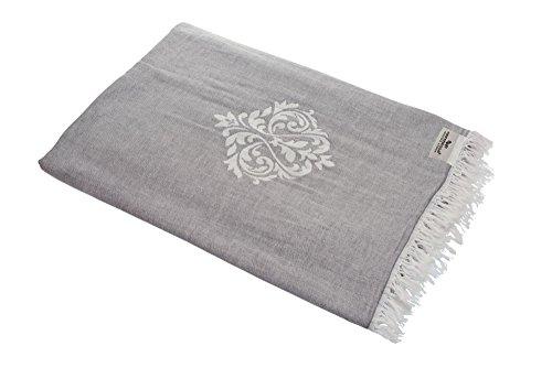 Carenesse Tagesdecke Ornament grau, 145 x 200 cm, 100prozent Baumwolle, leichte dünne beidseitig schöne Decke mit kurzen Fransen, Überwurf für Bett Sofa & Couch, Tischdecke, Dekodecke