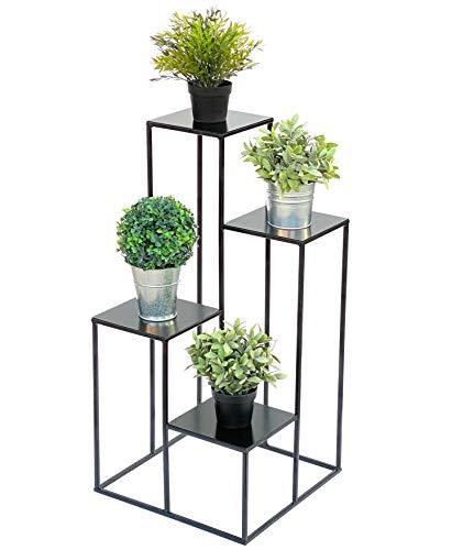 DanDiBo Blumentreppe Metall Schwarz 82 cm Pflanzentreppe Blumenständer 435 Blumensäule Modern Pflanzenständer Blumenhocker