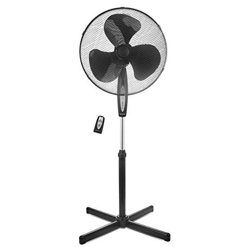briebe FN122397 Ventilador de Pie silencioso con Mando a Distancia, 40cm, Temporizador, oscilante, 3 Modos Funcionamiento, 3 velocidades, Regulable Altura 125cm, Negro