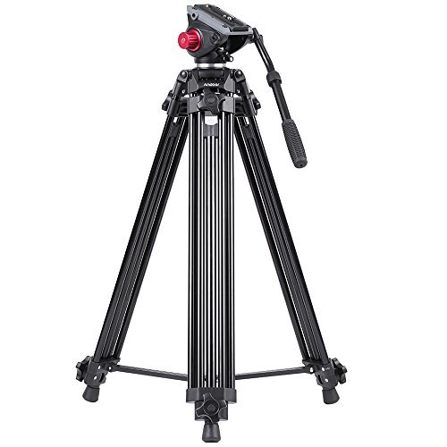 Andoer Professional Video Tripod System-67 Inch Professional Heavy Duty Aluminum Tripod with Detachable Fluid Drag Pan Tilt Head and Quick Release Plate Max Load 10kg/22lbs for Video Camcorder
