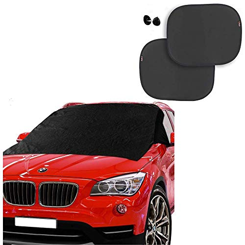 Windshield Snow Cover Magnetic Guard from Frost 50 x 62 Inches and UV Protective Window Sunshades 2 Pcs