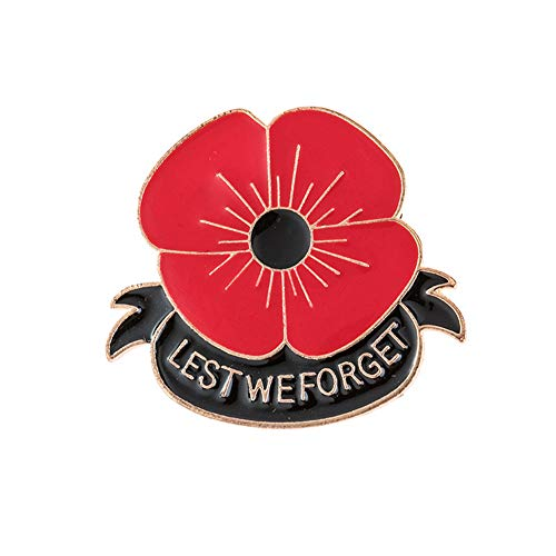 D&XQX Rote Blume Mohn Brosche Veterans Memorial Day Lest We Forget Volkstrauertag-Revers-Abzeichen Pin