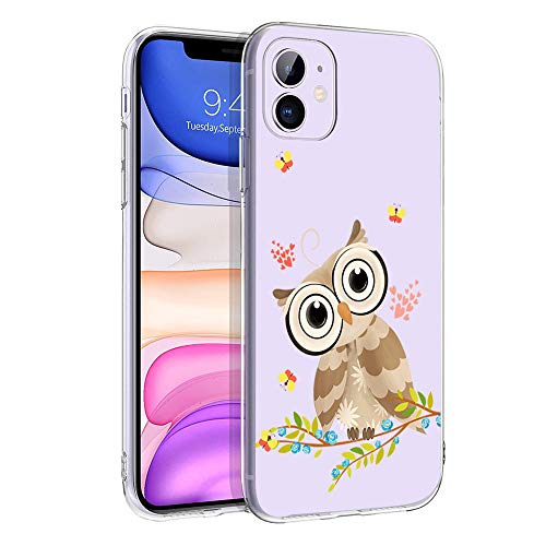 cocomong Cute Owl Clear Phone Case Compatible with iPhone 11 Case for Girls Cool Funny Designer Decor Owl Gifts for Women Men Boys, Soft TPU Thin Cover Slim Fit Shockproof Silicone Protective 6.1'