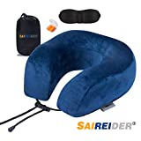 SAIREIDER Travel Pillow 100% Memory Foam Airplanes Neck Pillows -Prevent The Heads from Falling Forward Travel Neck Pillows with Sleep Mask and Earplugs-Navy Blue